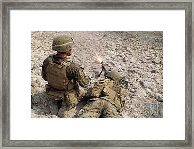 U.s. Marines Provide Suppressive Fire Framed Print by Stocktrek Images