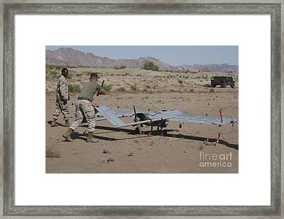 U.s. Marines Recover An Rq-7b Shadow Framed Print by Stocktrek Images