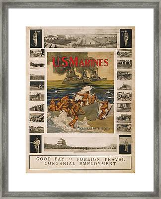 U.s. Marines Recruitment Poster Showing Framed Print by Everett
