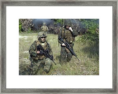 U.s. Marines Secure A Perimeter Framed Print by Stocktrek Images