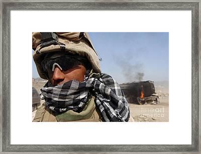 U.s. Marines Set Securityat The Site Framed Print