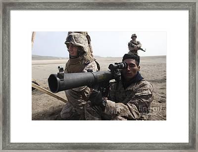 U.s. Marines Teach Peruvian Marines How Framed Print by Stocktrek Images