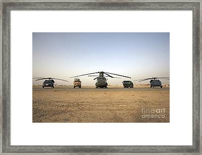 U.s. Military Vehicles And Aircraft Framed Print