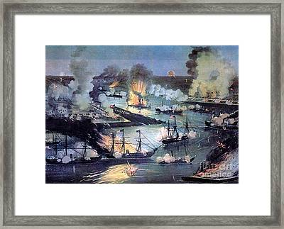 U.s. Navy Destroys Rebel Gunboats Framed Print by Photo Researchers