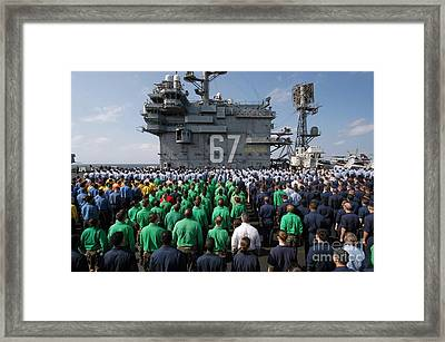 U.s. Navy Sailors Stand At Attention Framed Print by Stocktrek Images