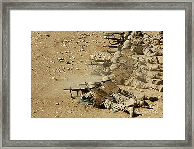 U.s. Navy Seabees Fire M-4 And M-16a2 Framed Print by Stocktrek Images