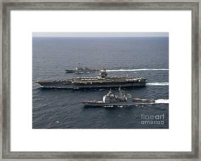 U.s. Navy Ships Transit The Atlantic Framed Print