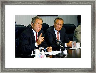 U.s. President George W. Bush Answers Framed Print by Everett