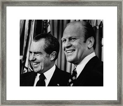 Us Presidents. Richard Nixon With Vice Framed Print by Everett