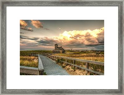 U.s. Rescue Station At Race Point Cap Cod Framed Print by Linda Pulvermacher