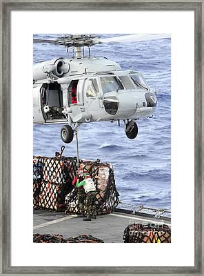 U.s. Sailors Connect A Cargo Pendant Framed Print