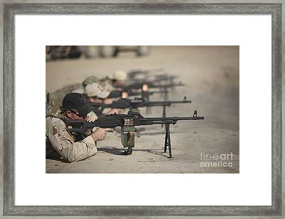 U.s. Soldiers Firing Pk 7.62 Mm Framed Print by Terry Moore