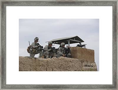 U.s. Soldiers Secure A Perimeter Framed Print
