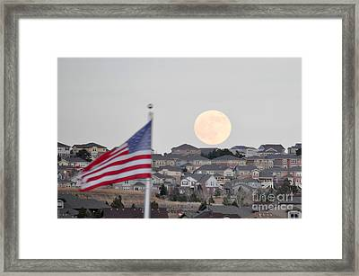 Framed Print featuring the photograph Usa Flag And Moon by Cheryl McClure