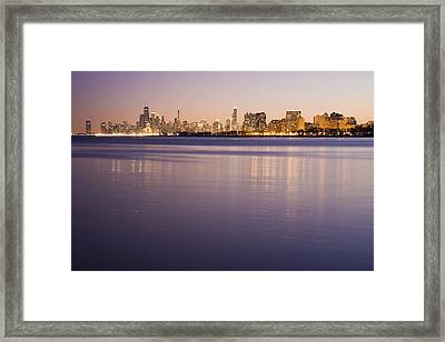 Usa, Illinois, Chicago, City Skyline Over Lake Michigan Framed Print
