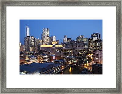 Usa, Illinois, Chicago, Skyline And River Illuminated At Night Framed Print by Henryk Sadura