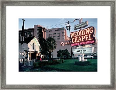 Usa, Las Vegas, Neon Sigh Outside Wedding Chapel Framed Print by Jonathan Olley