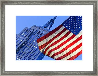 Usa, New York State, New York City, American Flag With Empire State Building In Background Framed Print by Tetra Images