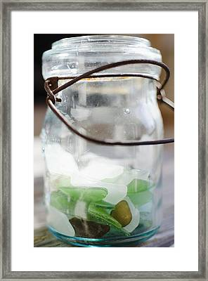 Usa, New York State, New York City, Brooklyn, Sea Glass In Jar Framed Print