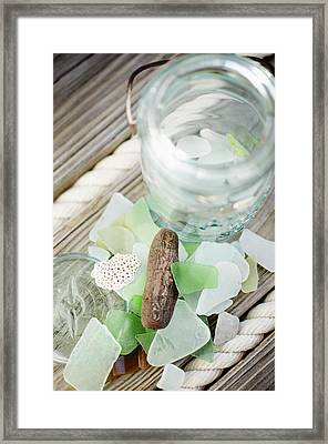 Usa, New York State, New York City, Brooklyn, Still Life With Sea Glass And Pebbles Framed Print