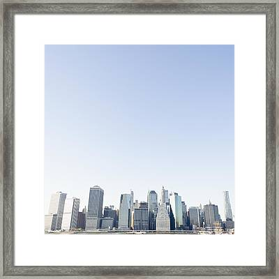 Usa, New York State, New York City, Manhattan Seen From Brooklyn, Skyline Framed Print by Jamie Grill