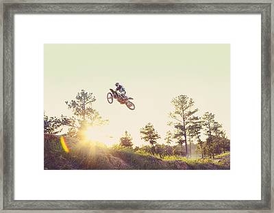 Usa, Texas, Austin, Dirt Bike Jumping Framed Print by King Lawrence