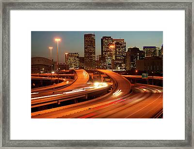 Usa, Texas, Houston City Skyline And Motorway, Dusk (long Exposure) Framed Print