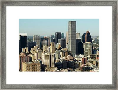 Usa, Texas, Houston, Dwontown, Aerial View Framed Print by George Doyle