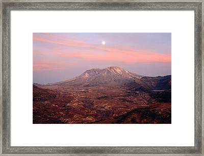 Usa, Washington, Moonrise Over Mount St Helens At Sunset Framed Print