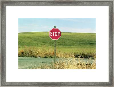 Usa, Washington, Palouse, Stop Sign On Country Road Framed Print