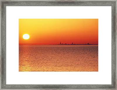 Usa,chicago,lake Michigan,orange Sunset,city Skyline In Distance Framed Print by Frank Cezus