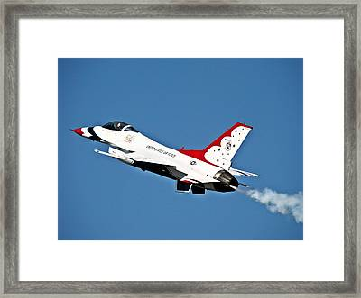 Framed Print featuring the photograph Usaf Thunderbird F-16 by Nick Kloepping