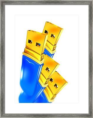Usb Memory Sticks, Artwork Framed Print by Victor Habbick Visions