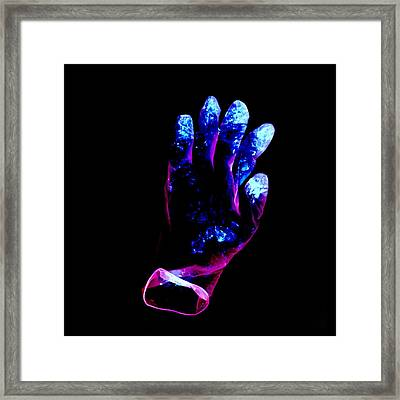 Used Surgical Glove, Negative Image Framed Print