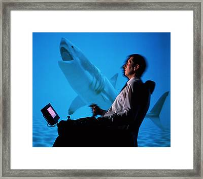 User In Reality Centre Simulator (underwater Set) Framed Print by David Parker