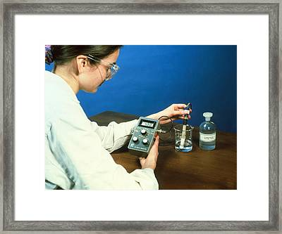 Using A Ph Meter Framed Print by Andrew Lambert Photography