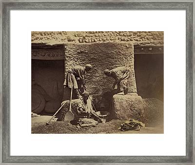 Using Centuries Old Methods, Men Framed Print by Everett