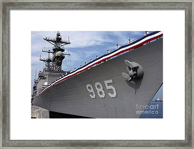 Uss Cushing Is Decommissioned Framed Print by Stocktrek Images