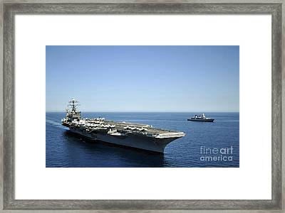 Uss Harry S. Truman Cruises Alongside Framed Print