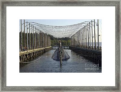 Uss Jimmy Carter Moored In The Magnetic Framed Print