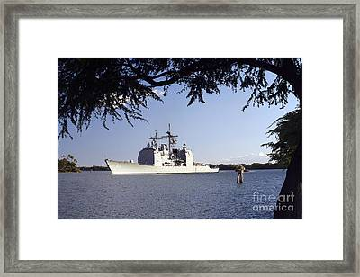 Uss Mobile Bay Transits Into Pearl Framed Print