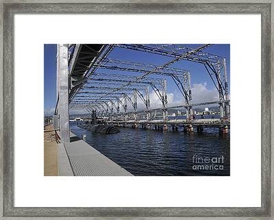 Uss Olympia Moored In A Submarine Framed Print