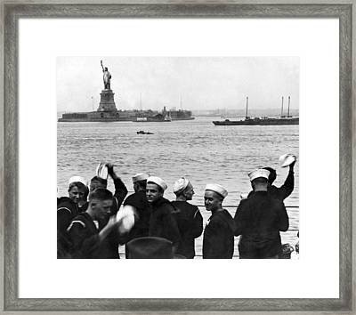 Uss Pennsylvania Sailors Cheer Framed Print by Underwood Archives