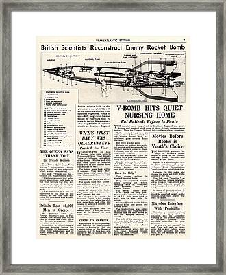 V-2 Reconstruction In The Daily Mirror Framed Print by Detlev Van Ravenswaay