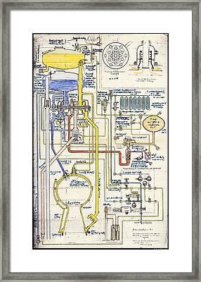 V-2 Rocket Pipe Plan Framed Print by Detlev Van Ravenswaay