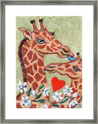 Framed Print featuring the painting Valentine Giraffes by Doris Blessington