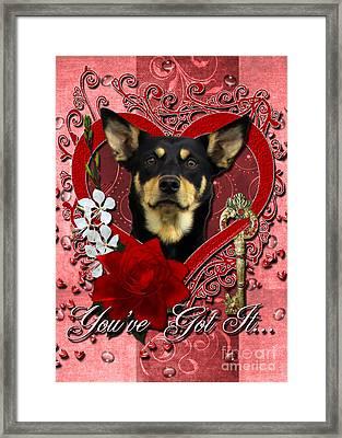 Valentines - Key To My Heart Australian Kelpie Framed Print by Renae Laughner