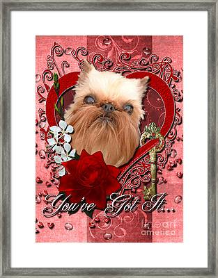 Valentines - Key To My Heart Brussels Griffon Framed Print by Renae Laughner