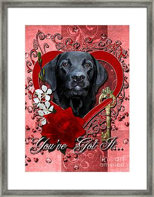 Valentines - Key To My Heart Labrador Framed Print by Renae Laughner