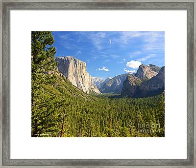 Valley Blue Sky And Clouds Yosemite National Park Framed Print